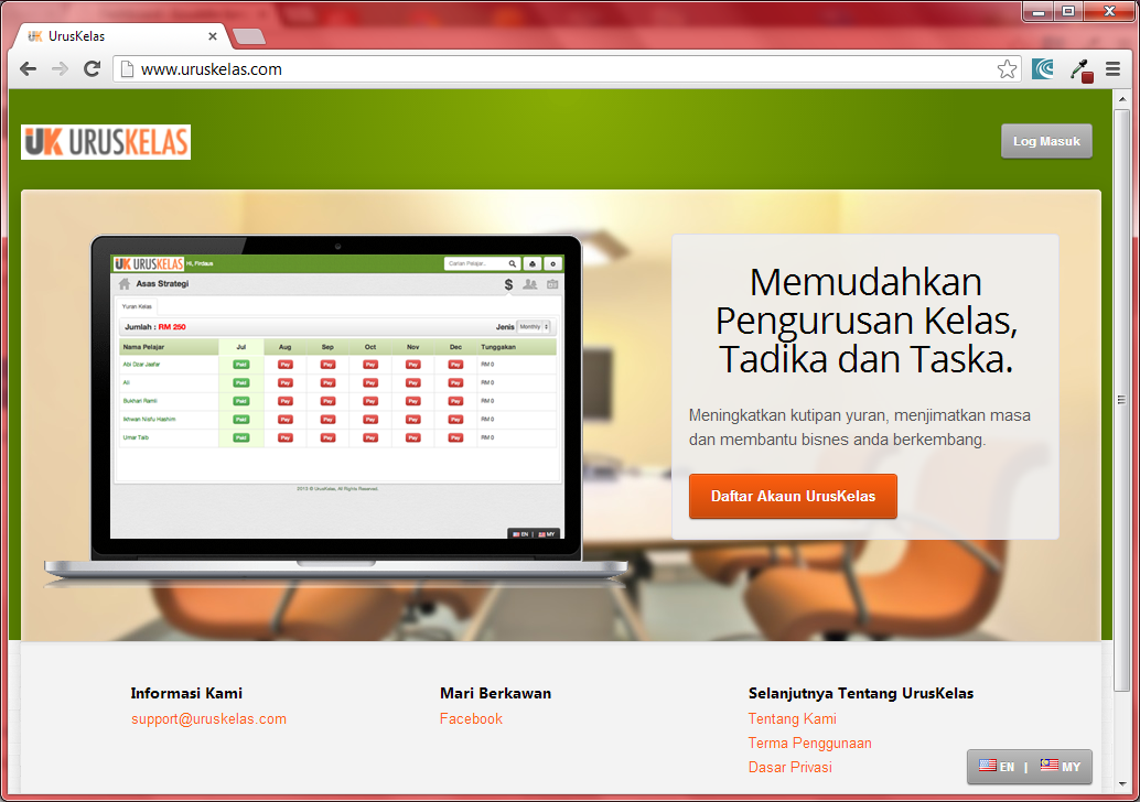 UrusKelas.com, SaaS untuk Tuisyen, Tadika dan Taska